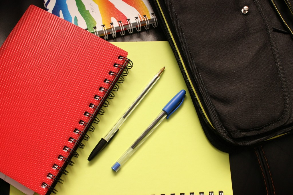 A binder or notebook can help keep papers and looseleaf items all in one place.